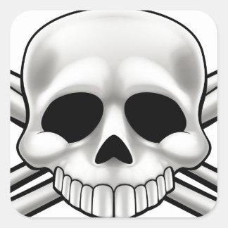 Sticker Carré Crâne et os croisés