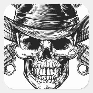 Sticker Carré Crâne et pistolets de cowboy