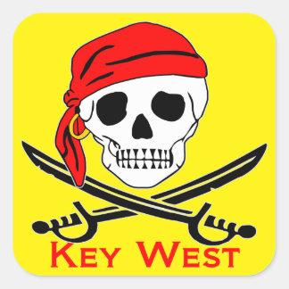 Sticker Carré Crâne Key West de pirate