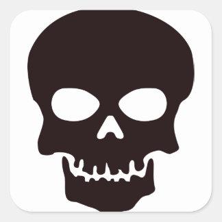 Sticker Carré Crâne noir