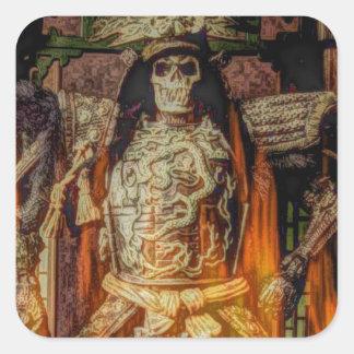 Sticker Carré crâne samouraï japonais de samouraïs d'armure de