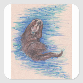 Sticker Carré Créature d'animal sauvage de loutre de mer petite