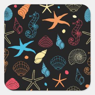 Sticker Carré créatures de mer