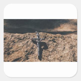 Sticker Carré croix et sable