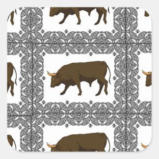 Sticker Carré cubes bruns en taureaux