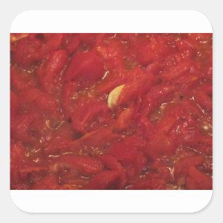 Sticker Carré Cuisson de la sauce tomate faite maison