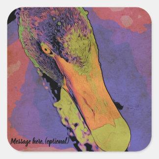 Sticker Carré Cygne noir de style d'art de bruit