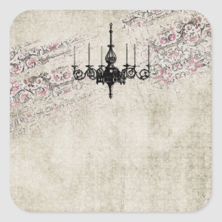 Sticker Carré Damassé vintage chic minable de lustre victorien