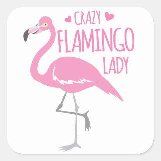 Sticker Carré Dame folle de flamant