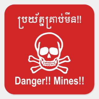 Sticker Carré Danger ! ! Mines ! ! ☠ cambodgien de signe de