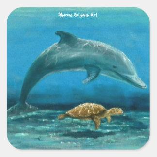 Sticker Carré Dauphin et tortue nageant ensemble !