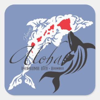 Sticker Carré Dauphins et baleine d'Hawaï