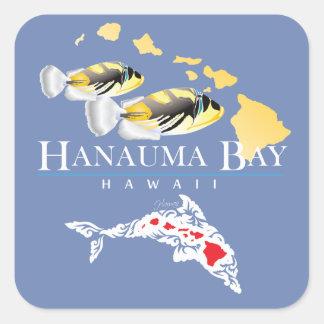 Sticker Carré Dauphins Humuhumunukunukuapua'a d'Hawaï
