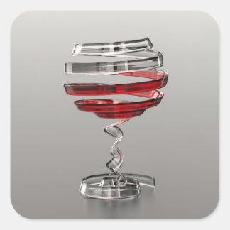 Sticker Carré D'autocollants étranges de carré en verre de vin