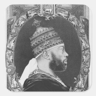 Sticker Carré de l'Ethiopie, Menelik II