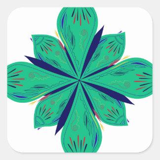 Sticker Carré Deco vert d'Ethno de mandala