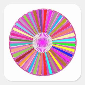 Sticker Carré Décorations colorées de Chakra de roue FLORALE