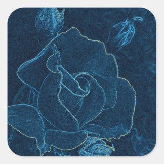 Sticker Carré découpe de rose de bleu