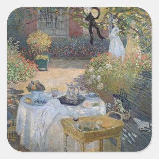 Sticker Carré Déjeuner de Claude Monet   : Le jardin Argenteuil
