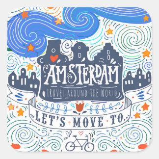 Sticker Carré Déplaçons-nous à Amsterdam