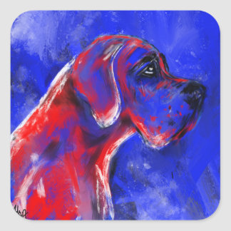 Sticker Carré Des Doggenportrait dogue décomposent rouge bleu