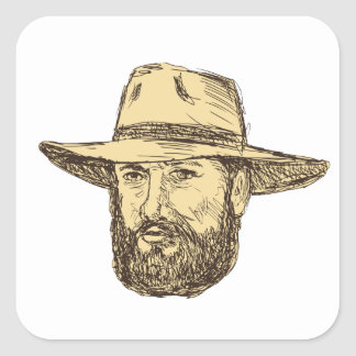 Sticker Carré Dessin barbu de tête de cowboy