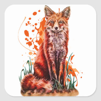 Sticker Carré Dessin d'art animal rouge de Fox et de peinture