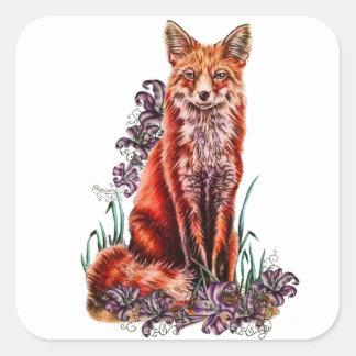 Sticker Carré Dessin d'art animal rouge et de lis de Fox