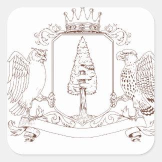 Sticker Carré Dessin de crête de couronne de séquoia de hibou et