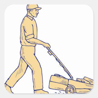 Sticker Carré Dessin de fauchage de tondeuse à gazon de
