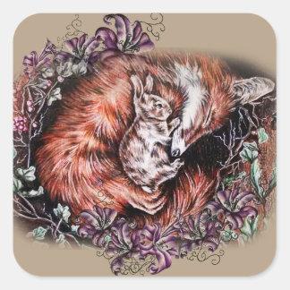Sticker Carré Dessin de Fox rouge et d'art animal et de lis de