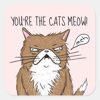 Sticker Carré Dessin grincheux drôle de chat de Meh