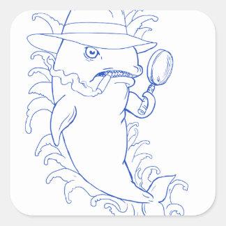 Sticker Carré Dessin révélateur d'épaulard d'orque