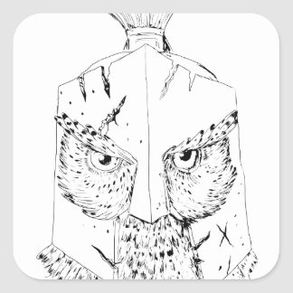 Sticker Carré Dessin spartiate de casque de hibou à cornes