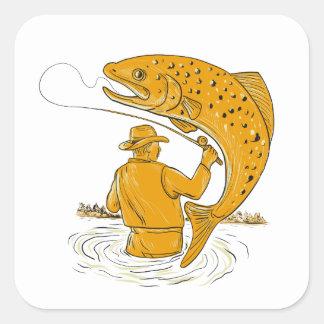 Sticker Carré Dessin tournoyant de truite de pêcheur de mouche