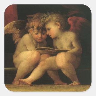 Sticker Carré Deux anges lisant par Rosso Fiorentino, anges