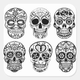 Sticker Carré Dia de los Muertos Skulls (jour des morts)