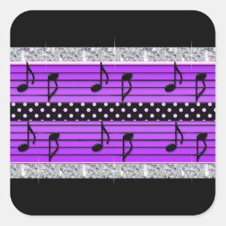 Sticker Carré Diamants pourpres et noirs de point de polka et