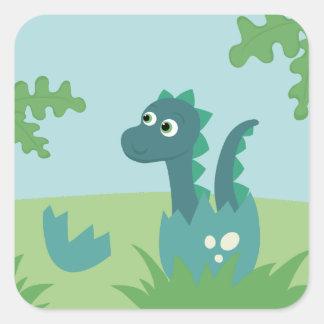 Sticker Carré Dinosaure de bébé dans l'autocollant d'oeufs