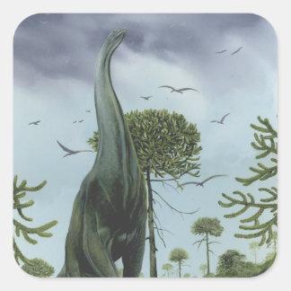 Sticker Carré Dinosaures vintages, Sauroposeidon avec voler