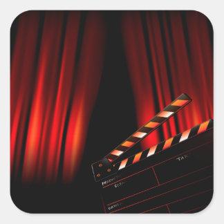 Sticker Carré Directeur rouge de bardeau de rideau en film