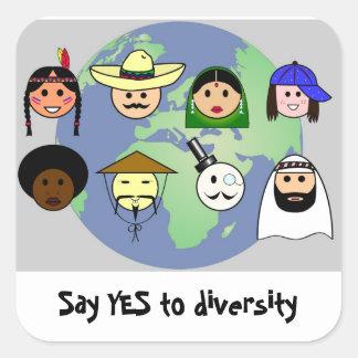Sticker Carré Diversité d'anti racisme mondial de personnes pro