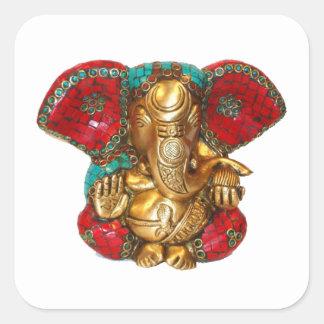 Sticker Carré DIWALI heureux - Merci GANAPATI Ganesh