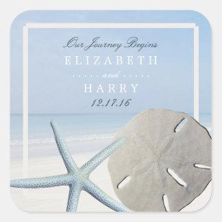Sticker Carré Dollar de sable et mariage de plage d'étoiles de
