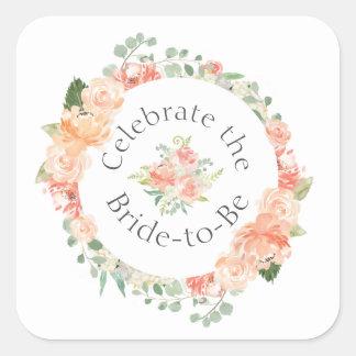 Sticker Carré Douche nuptiale d'anneau floral de pêche
