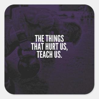 Sticker Carré Douleur - mots inspirés de séance d'entraînement -