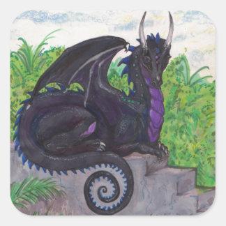 Sticker Carré Dragon noir pourpre