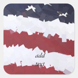 Sticker Carré Drapeau américain de papier de Mache