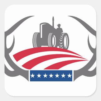 Sticker Carré Drapeau américain de tracteur de ferme d'Antler