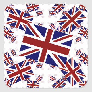 Sticker Carré Drapeau BRITANNIQUE d'Union Jack dans les couches